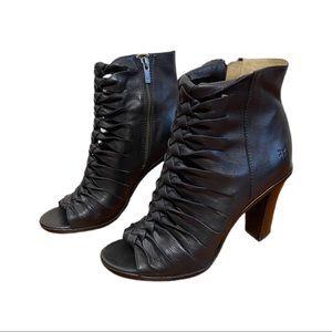 Frye Sofia Black Braided Peep Toe Leather Sandals